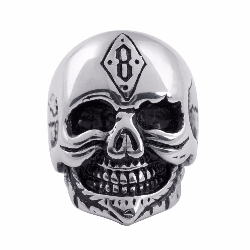 EVBEA Fashion Men Gothic Character Skull Stainless Steel Biker Ring Anarchy Death Skull Ring For Boy Father Birthday Gift