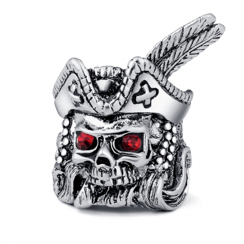 Hip Hop Bijoux Wholesale Men Punk Pirate Capital Biker Rings Skull Couple Jewelry Accessories with  Stones