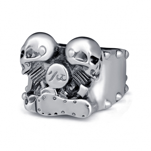 Father's Day Gifts Hip Hop Rock Silver Punk Skull Bijoux Men's Biker Couple Rings Carved Antique Jewelry Accessories