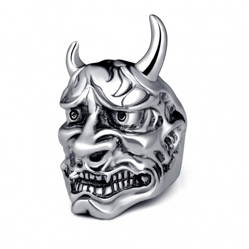 Racing Hip Hop Rock Silver Punk Skull Bull Big Adjustable Bikers Motorcycle Rings Men's & Boys' Jewelry