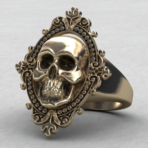 EVBEA Charming Ancient Gold Skull Ring Big Huge Ghost Skull Ring Men Boys Polishing Biker Ring 2016 Skull Rings
