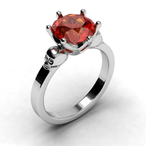 EVBEA Punk Rings Wholesale Silver Geometric Ring For Women CZ Red Stone Punk Jewelry