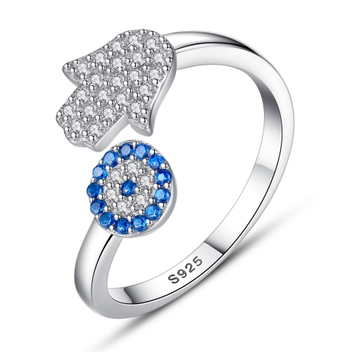 EVBEA Sterling Silber Ring verstellbare Ringe Evil Eye Saphir CZ Hamsa Hand stapelbar Sterling Silber Midi Open Ring
